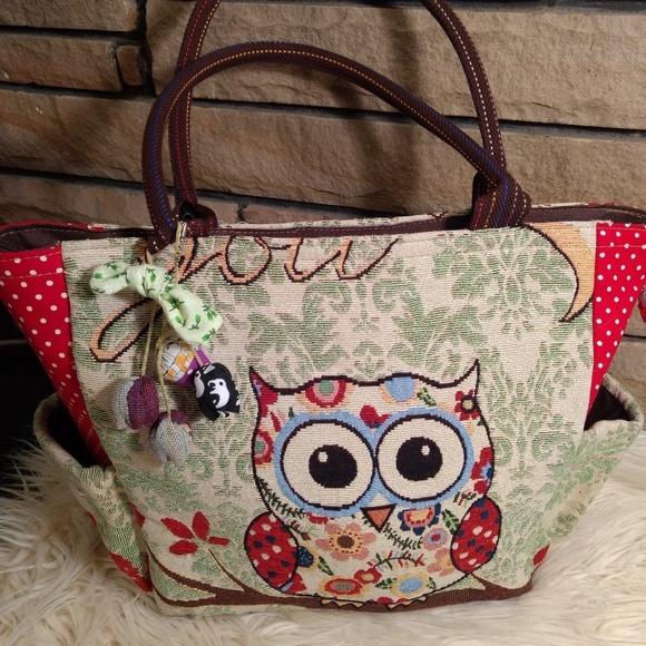 "Handbags - Charkorn owl purse ""love you to moon and back"""